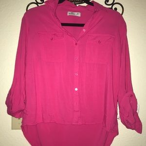 Hollister Pink Button Up Blouse